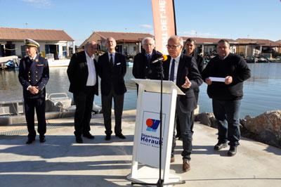 L'intervention d'Henry Fricou, maire de Mèze, à l'occasion de l'inauguration du mas expérimental au Mourre Blanc
